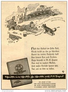 Original-Werbung/ Anzeige 1941 - BRIEFPAPER MAX KRAUSE / MOTIV SOLDATEN - ca. 90 x 120 mm