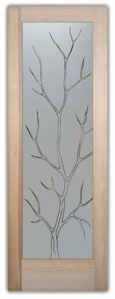Literal/ more contemporary sandblasted door with tree outline