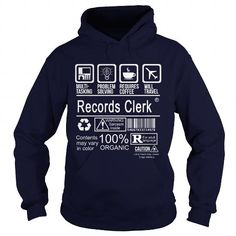 RECORDS CLERK CERTIFIED JOB TITLE T Shirts, Hoodies, Sweatshirts. CHECK PRICE ==► https://www.sunfrog.com/LifeStyle/RECORDS-CLERK--CERTIFIED-JOB-TITLE-Navy-Blue-Hoodie.html?41382