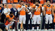 Broncos' Brandon Marshall takes knee during national anthem