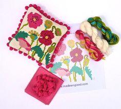 Poppies needlepoint kit shot at www.madinengland.com