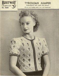 1940s Tyrolean Jumper/Sweater Bestway no door StraightTalkingMama