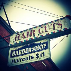 Old barber shop signage.
