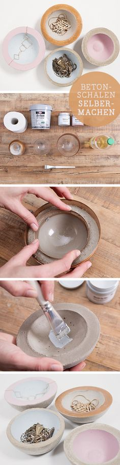 DIY tutorial for jewelry bowls made of concrete / diy tutorial: concrete bowls for j . - DIY tutorial for concrete bowls / diy tutorial: concrete bowls for jewelery, home decor via DaWanda - Cement Art, Concrete Crafts, Concrete Projects, Concrete Jewelry, Handmade Home Decor, Diy Home Decor, Concrete Bowl, Concrete Color, Concrete Design