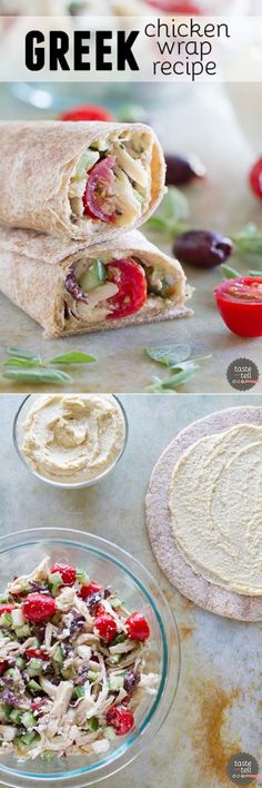 Perfect for a quick lunch or an easy dinner, this Greek Chicken Wrap is full of flavor and low in calories! Perfect for a quick lunch or an easy dinner, this Greek Chicken Wrap is full of flavor and low in calories! Chicken Wrap Recipes, Chicken Wraps, Chicken Salad, Tostadas, Tacos, Beste Burger, Breakfast Desayunos, Little Lunch, Greek Chicken