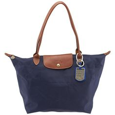 Pre-owned Longchamp Blue Nylon Tote ($58) ❤ liked on Polyvore featuring bags, handbags, tote bags, zip top tote bag, nylon tote, white purse, zip top tote y nylon tote bag