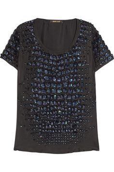 Roberto Cavalli Sequin-embellished silk-twill top NET-A-PORTER.COM