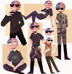 I wanted to paint so here I leave a drawing of usa, yeah. Usa Country, Country Art, Usa Shirt, Mundo Comic, First Language, Army Soldier, Human Art, Hetalia, Kawaii Anime