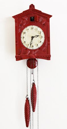 Vintage Cuckoo Clock in Fire Engine red - Cuckoo clock - Vintage Clock Coo Coo Clock, Retro, Love Vintage, Cool Clocks, Shabby, Grandfather Clock, White Cottage, Red Kitchen, Antique Clocks