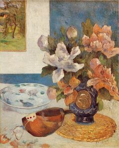 Paul Gauguin: Still Life with Chinese Peonies and Mandolin d'Orsay (France - Paris) Artist age: Approximately 37 years old. Dimensions: Height: 61 cm in.), Width: 51 cm in.) Medium: Painting - oil on canvas Post Impressionism, Impressionist Art, Paul Gauguin, Paris France, Mandoline, Louvre Paris, Painting Still Life, Oeuvre D'art, Architecture Art