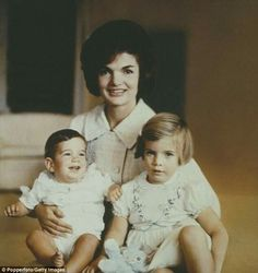 First Lady of the United States, Jackie Kennedy posed with her children John and Caroline circa (Photo by Rolls Press/Popperfoto/Getty Images Get premium, high resolution news photos at Getty Images Jfk And Jackie Kennedy, Les Kennedy, Robert Kennedy, First Family Photos, George Santayana, John Junior, Jfk Jr, Women Names, Future Husband