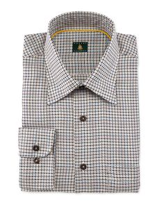 Houndstooth Woven Dress Shirt, Tan