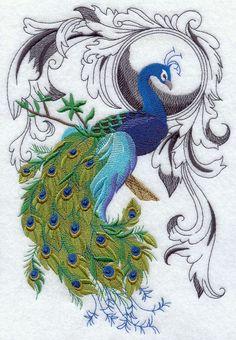 Peacock Flourish design (H2318) from www.Emblibrary.com