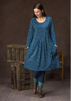 "sizes S-XXL Jersey dress ""Blueberry"" from organic cotton / spandex 65700"