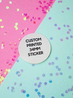 34mm custom sticker printing white paper by ctdscraftsupply