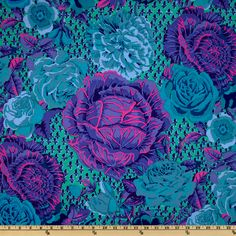 Kaffe Fassett Spring 2012 Collective Cabbage Rose Blue Fabric