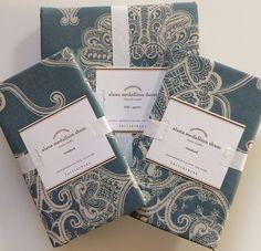 POTTERY BARN ALANA MEDALLION FULL/QUEEN DUVET COVER + 2 STD SHAMS NEW PORC BLUE #PotteryBarn #Contemporary