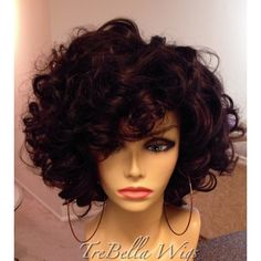 "One of my absolute FAVORITE styles to do...the curly bob!  This is a TreBella full wig so no closure was used.  Also this is NOT the natural curl pattern of this hair. These curls were ""created"".  #wigs #wigmaker #curls #curlyhair #trebella #trebellawigs #divahair  #extensions  #fullwigs"