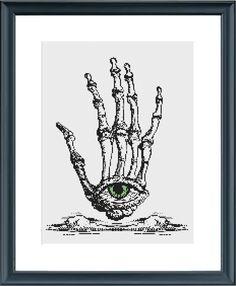 Skeleton Hand and Eye cross-stitch pattern pdf instant download - Hamsa - bone…