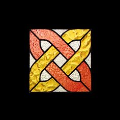 "This simple Celtic Knot stained glass pattern is a great starter project. All of the glass in this suncather is from Paul Wissmach. The red is English Muffle, the yellow, Florentine, and the clear background, Moss, is great for diffusing light and creating privacy. • 7.5"" x 7.5"" • 17 pieces • level of difficulty beginner • materials list and colour photo included • grinder most likely required Download the pattern PDF  after purchase!"