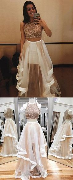 Prom Dresses 2018 Jewel Neck Ivory Two Piece Prom Dress, Sparkling Beaded Long Tulle Prom Dress, Elegant A-line Crop Top Sleeveless Prom Dress School Formal Dresses, Cute Prom Dresses, Prom Dresses 2018, Tulle Prom Dress, Grad Dresses, Trendy Dresses, Dance Dresses, Elegant Dresses, Beautiful Dresses