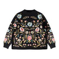 [Soonyour] 2017 горячая новая весна шею длинным рукавом цветочная вышивка вязание толстовка женская мода HAA1209