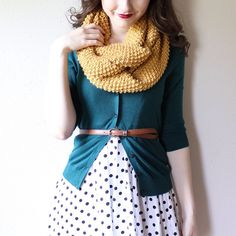 Mustard and teal mixed with polka dots