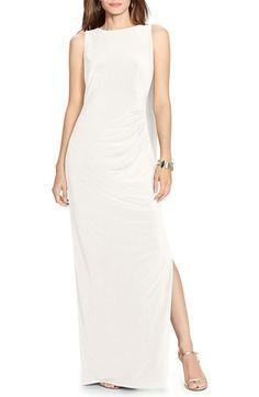 Lauren Ralph Lauren Cascade Back Jersey A-Line Gown available at #Nordstrom