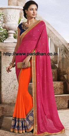 Lovely magenta and orange georgette and crepe silk saree designed with resham, zari, stone, sequins and patch border work. As shown matching blouse can be made available and also can be customized as per your style or pattern subject to fabric limitation. Visit http://www.paridhan.co.in/products/fullpage/9298/lovely-magenta-and-orange-half-and-half-saree.