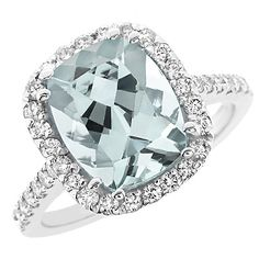 Cushion Cut Blue Aquamarine Diamond Halo Cocktail Ring