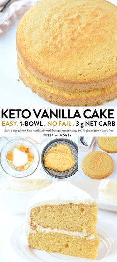 KETO VANILLA CAKE , 3 g net carb per serve #ketocake #keto #lowcarbrecipes #lowcarb #ketovanillacake #vanillacake #almondflour #birthdaycake #easy #onebowl #healthy #birthday #moist #best #videos #stevia #coconutoil #dairyfree #glutenfree