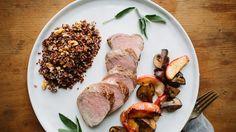 Roast Pork Tenderloin and Apples with Mushroom Sauté Recipe | Bon Appetit