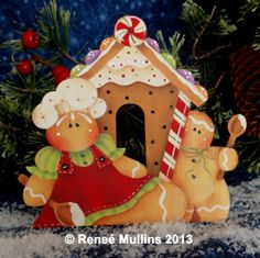 Holiday Baking (Nightlight Pattern Kit) from Plum Purdy Designs by Renee Mullins Gingerbread Ornaments, Gingerbread Decorations, Christmas Gingerbread, Christmas Wood, Christmas Crafts, Christmas Decorations, Christmas Ornaments, Merry Christmas, Country Paintings