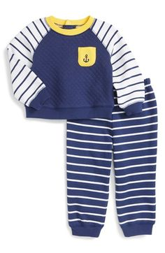 Little Me 'Anchor' Quilted Sweatshirt & Pants Set (Baby Boys)