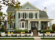 I adore this house. Architecture, shutters, porch, colors, everything. THIS is my dream home. - Home Decor Life Design Exterior, House Paint Exterior, Exterior Paint Colors, Exterior House Colors, Paint Colors For Home, Exterior Shutters, Gray Exterior, Future House, My House