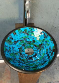 DreamFixtures Turquoise Blue Round Designer Round Design Handcrafted Glass  Tile Bathroom Vessel Sink Basin   Each