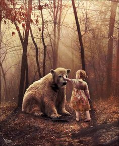 """""""You understand,"""" she said, """"why I can't go with you. But I will meet you here every night."""" And that's exactly what she did until she was an old woman and he was a very old bear. """"Affection"""" by Albitar."""