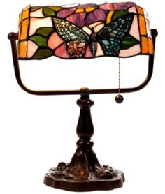 Warehouse of Tiffany Tiffany Style Banker Butterfly Desk Lamp, Multi Bankers Desk Lamp, Tiffany Table Lamps, Lamp Table, Louis Comfort Tiffany, Pull Chain, Bedroom Lamps, Lamp Bases, Innovation Design, Warehouse