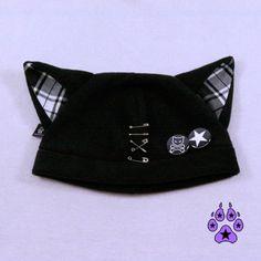 Plaid Kitty Hat Jrock PUNK kawaii cosplay anime cat fleece beanie goth pins bad 1854