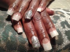 French with glitter acrylic nails by jozy