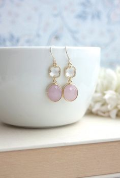 Pink Opal Oval Framed Glass Drop with Clear Glass by Marolsha, $25.00