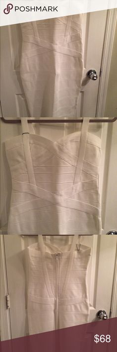 White bodycon bandage dress Perfect for a night out! Bachelorette party, white party, weekend in Miami! This dress looks and fits like money. Beautiful material and banded design throughout. Figure flattering dress...holds everything in place. NWT Whoinshop Dresses Midi