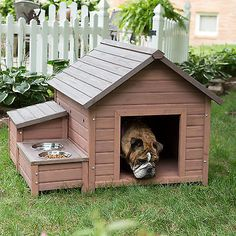 Wooden A-frame Dog House with Food Bowl Tray and Storage Cubby Indoor Outdoor