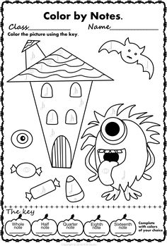 Halloween Color by Music Pack Basic Music Theory, Music Activities For Kids, Piano Lessons For Beginners, Halloween Music, Best Piano, Unicorn Coloring Pages, Music Page, Music Class, Halloween Coloring