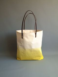 Dip Dyed Canvas Tote Bag - Sunny Summer Yellow Ombre Shoulder Purse with Leather Handles
