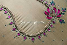 For orders contact Sri Aari Creatives - 9514395293 Cutwork Blouse Designs, Best Blouse Designs, Simple Blouse Designs, Blouse Back Neck Designs, Bridal Blouse Designs, Simple Embroidery Designs, Creative Embroidery, Mirror Work Blouse Design, Maggam Work Designs