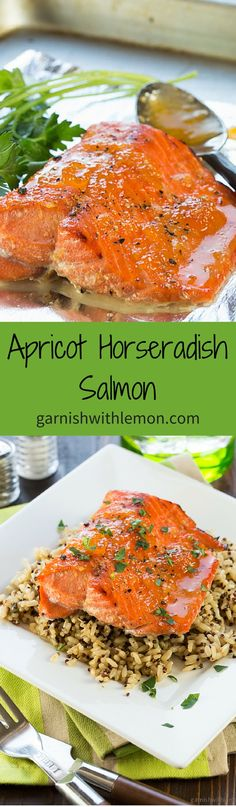 This flavorful Apricot Horseradish Salmon is a quick and easy weeknight meal! ~ http://www.garnishwithlemon.com