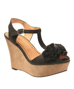 Take a look at this Black Abloom Wedge Sandal by nicole on #zulily today!