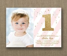 First Birthday Invitation baby girl blush pink stripes and gold glitter ONE with gold confetti by digibuddha.com