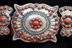 Buffalo Dancer sterling silver and spiny oyster concho belt